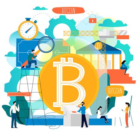 Bitcoin crypto exchange flat graphics