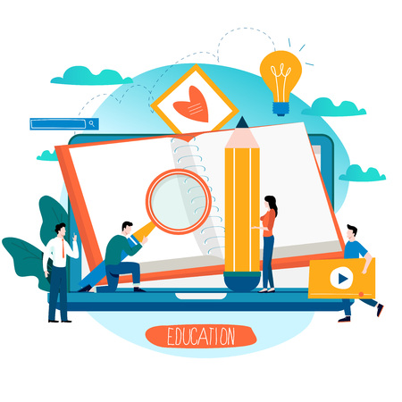 Education online training courses flat vector Illustration
