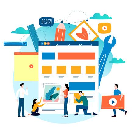 ウェブサイト開発、ウェブサイト構築、ウェブページ構築プロセス、ウェブサイトレイアウト、モバイルおよびウェブグラフィックスのためのフラ  イラスト・ベクター素材