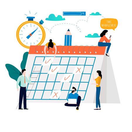 Gestión del tiempo, planificación de eventos, organización, optimización del tiempo, fecha límite, planificación del diseño de ilustración vectorial plana para gráficos móviles y web Ilustración de vector