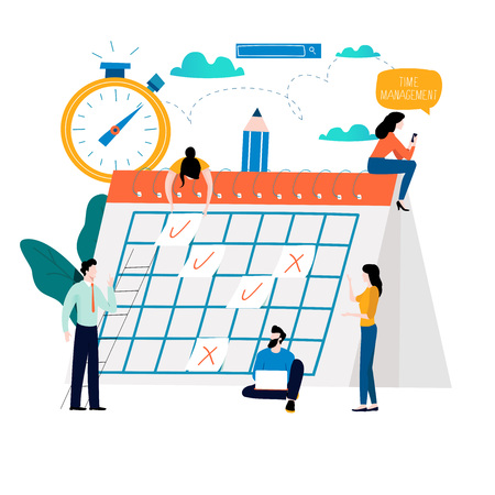 Time management, planning events, organization, time optimization, deadline, planning schedule flat vector illustration design for mobile and web graphics