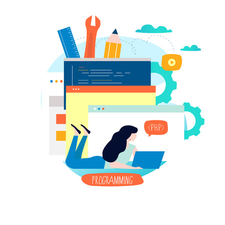 Coding, programming, website and application development flat vector illustration design for mobile and web graphics