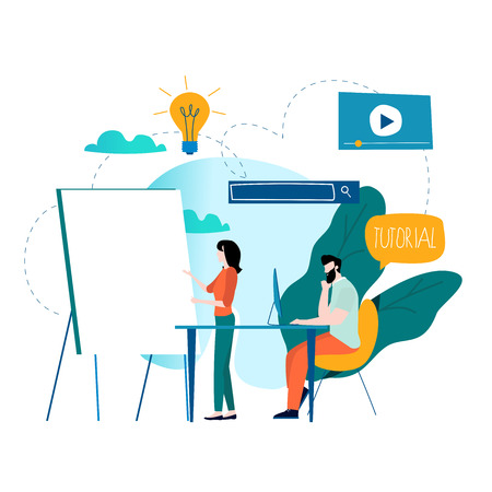 Professional training, education, online tutorial, online business courses, business presentation flat vector illustration. Expertise, skill development design for mobile and web graphics Stock Illustratie