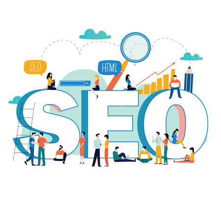 SEO, search engine optimization, keyword research, market research flat vector illustration. SEO word with group of people. Web site coding, internet search optimization for mobile and web graphics