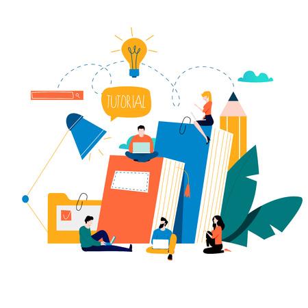 Istruzione, corsi di formazione online, illustrazione vettoriale di formazione a distanza. Studio su Internet, libri in linea, tutorial, e-learning, progettazione di formazione in linea per grafica mobile e web