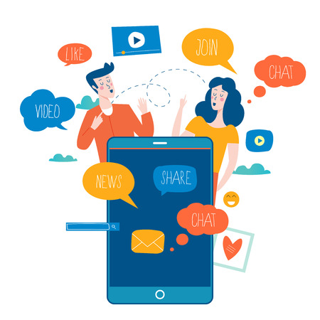 Social media, networking, chatting, texting, communication, online community, posts, comments, news flat vector illustration. People with speech bubbles. Design for mobile and web graphics Stok Fotoğraf - 100320659