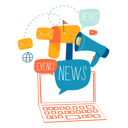 E-mail news flat design Vectores