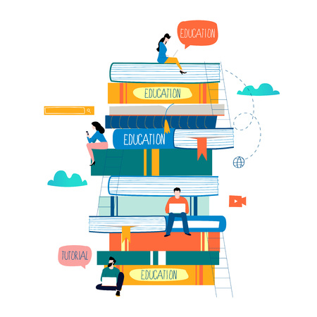 Diseño plano de cursos de educación y formación online.