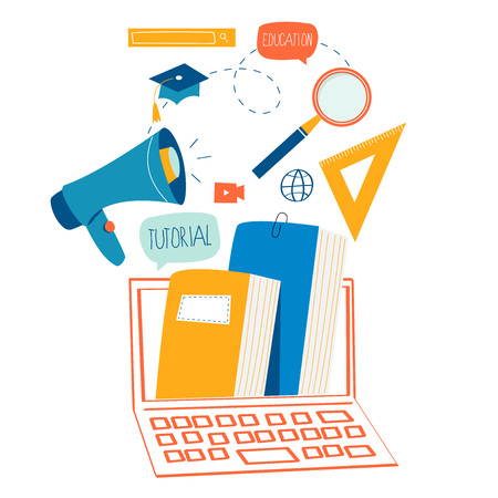 Education and online training courses flat design
