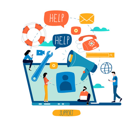 Servicio al cliente, asistencia al cliente, centro de llamadas ilustración vectorial plana. Soporte técnico, concepto de ayuda en línea para banner web, presentación comercial, material publicitario