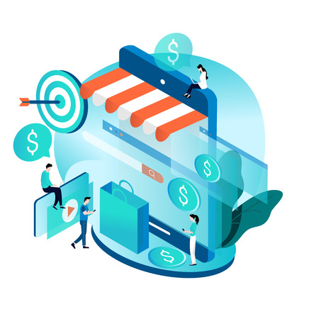 Modern isometric concept for online shopping, e-commerce, internet store, purchasing online vector illustration design for mobile and web graphic Ilustração
