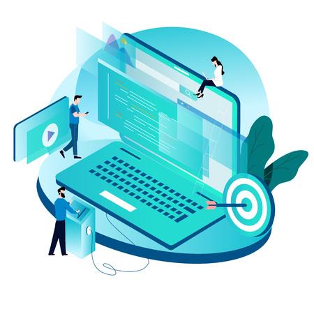 Concetto isometrico moderno per codifica, programmazione, progettazione di illustrazione vettoriale di sviluppo di siti Web e applicazioni per grafica mobile e web Vettoriali