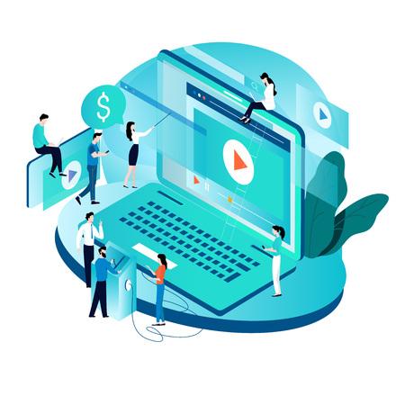 Concetto isometrico moderno per campagna di marketing video, annuncio video, contenuto digitale, promozione, illustrazione vettoriale di pubblicità online. Videomessaggio digitale, tutorial online per mobile e grafica web Vettoriali