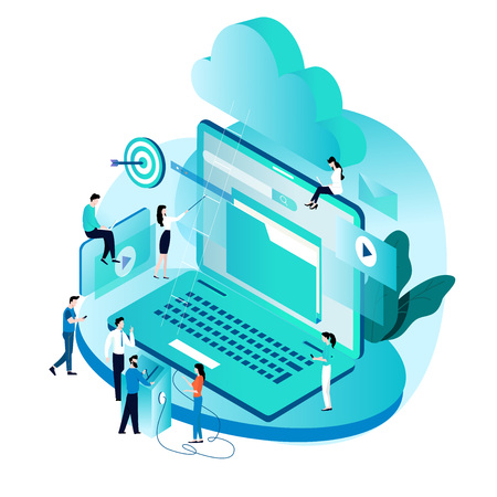 Modern isometric concept for cloud computing services and technology, data storage vector illustration. Network data storage design for mobile and web graphics