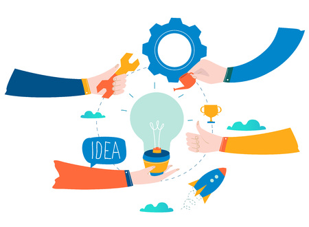 Idea, thinking, content development, brainstorming, creativity, project and research, creative soutions, learning and teamwork flat design for mobile and web graphics vector illustration