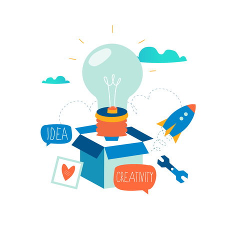 Idea, thinking outside the box, content development, brainstorming, creativity, project and research, creative soutions, learning flat design for mobile and web graphics vector illustration 向量圖像