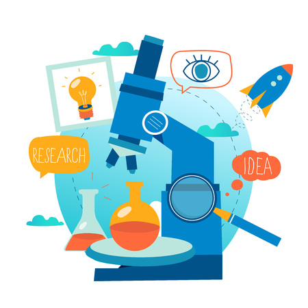 Research, science lab, scientific experiment, testing, microscope research flat vector illustration design for mobile and web graphics
