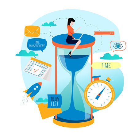 Time management, planning events, business organization, optimization, deadline, schedule flat vector illustration design for mobile and web graphics Illusztráció
