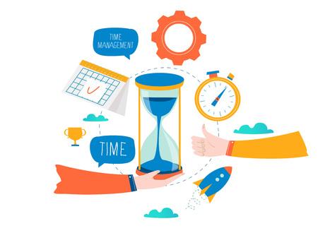 Gestione del tempo, pianificazione di eventi, organizzazione aziendale, ottimizzazione, scadenza, pianificazione della progettazione di illustrazione vettoriale piatta per grafica mobile e web Vettoriali