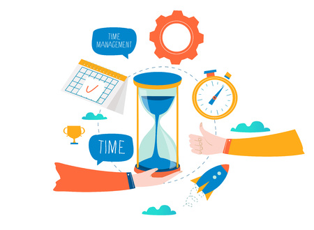Time management, planning events, business organization, optimization, deadline, schedule flat vector illustration design for mobile and web graphics Çizim