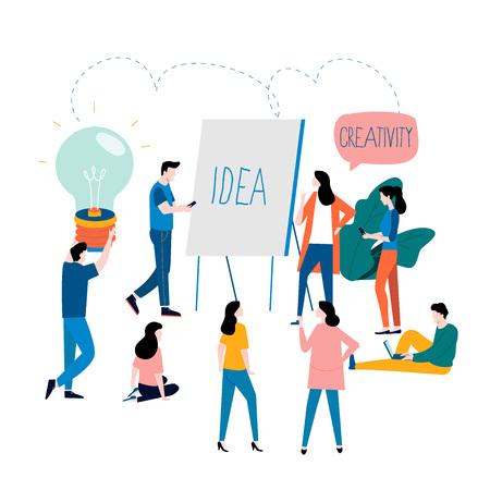 Formación profesional, educación, tutorial en línea, cursos de negocios en línea, ilustración de vector plano de presentación de negocios. Diseño de desarrollo de habilidades y experiencia para gráficos móviles y web