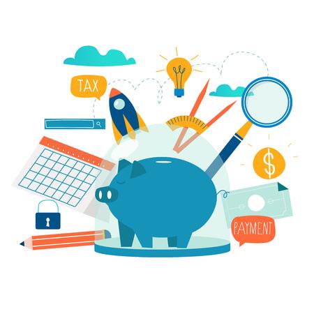Usługi biznesowe i finansowe, pożyczka pieniężna, planowanie budżetu płaski wektor ilustracja. Inwestycja długoterminowa, lokata na rachunku oszczędnościowym, projekt funduszu emerytalnego na potrzeby grafiki mobilnej i internetowej Ilustracje wektorowe