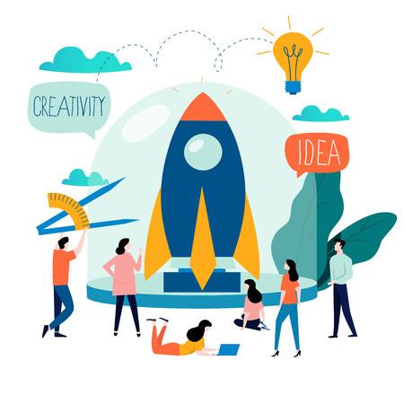Zakelijk project opstarten proces, opstarten idee lancering, projectmanagement, opstarten lancering teamwerk platte bedrijf vector illustratie ontwerp