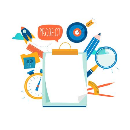 Valutazione, questionario d'esame, progetto di pianificazione, valutazione aziendale, raccolta dati disegno di illustrazione vettoriale piatta. Appunti del questionario, revisione del progetto per la grafica mobile e web