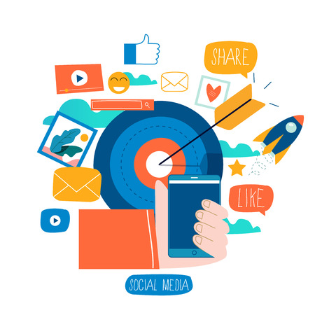 Social media, social networking, video and photo sharing, communication, chatting and messaging flat vector illustration design for mobile and web graphics