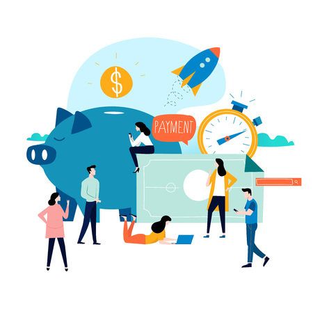 Business and finance services, money loan, budget planning flat vector illustration design. Long term investment, savings account deposit, pension fund design for mobile and web graphics Ilustração