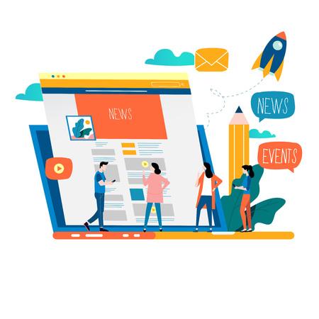 Actualización de noticias, noticias en línea, periódico, diseño de ilustración de vector plano de sitio web de noticias. Página web de noticias, información sobre eventos, actividades, información de la empresa y anuncios Ilustración de vector