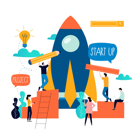 Business project start up process, start up idea launching, project management, start up launch teamwork flat business vector illustration design
