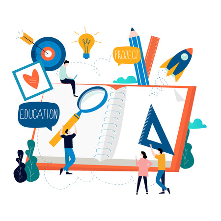 Education, online training courses, distance education flat vector illustration. Internet studying, online classes, tutorials, e-learning, online education design for mobile and web graphics Illustration