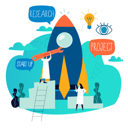 Business project start up process, start up idea launching, project management, start up launch teamwork flat business vector illustration design for mobile and web graphics