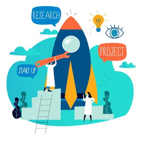Processus de démarrage de projet d'entreprise, lancement d'idée de démarrage, gestion de projet, démarrage de lancement de travail d'équipe conception d'illustration vectorielle d'entreprise plate pour les graphiques mobiles et Web Vecteurs