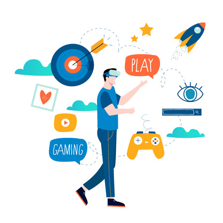 VR game concept with joystick flat vector illustartion. Video game, virtual reality platform design for mobile and web graphics