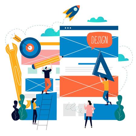 Website-ontwikkeling, webpagina-constructie, bestemmingspagina-bouwproces, website-indeling en interface-ontwikkeling platte vectorillustratieontwerp voor mobiele en webafbeeldingen. Webontwerpconcept