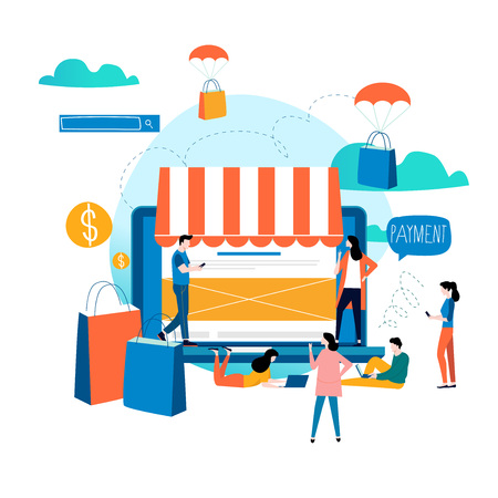 Tienda en línea, compras en línea, compras electrónicas, comercio electrónico, compras en línea, diseño de ilustración vectorial plana de venta por Internet para gráficos móviles y web