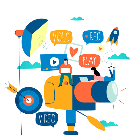 Video camera production, filming video footage flat vector illustration design. Video streaming, digital camera recording, colorful camcorder