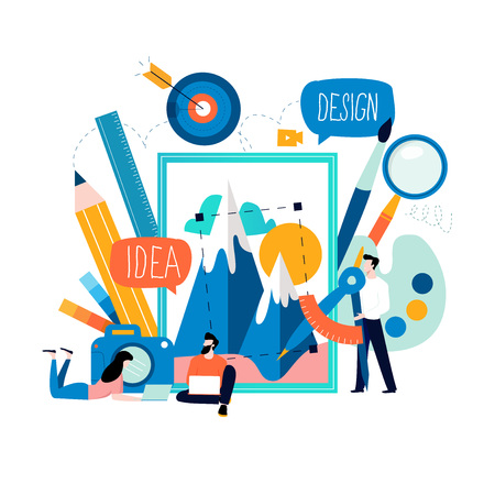 Design studio, designing, drawing, photographing, graphic design, education, creativity, art, ideas flat vector illustration. Online courses, workshops, tutorials for mobile and web graphics Ilustracja