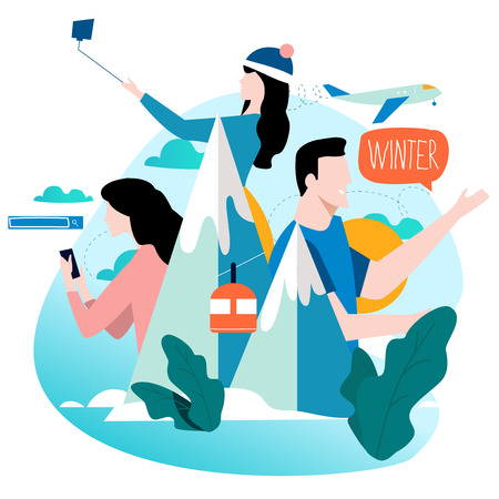 Traveling, winter landscape with people flat vector illustration design. Travel concept for mobile and web graphics