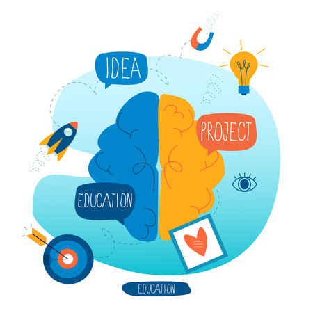 Brainstorming, creative thinking and analysis, education and learning, research and projects, training courses, business idea flat vector illustration design for mobile and web graphics