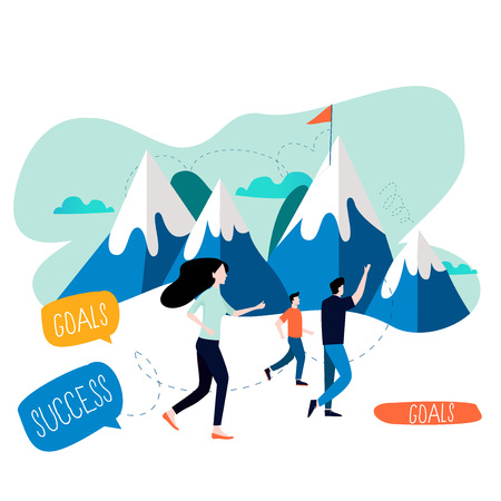 Business goal, targeting success, career challenges and opportunities flat vector illustration design. Reaching professional objective, leadership and success
