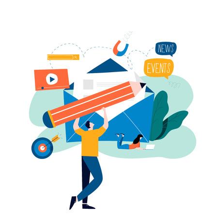 E-mail news, abonnement, promotion conception d'illustration vectorielle plane Actualités en ligne, mise à jour des actualités, informations sur les événements, activités, informations sur la société et annonces Vecteurs