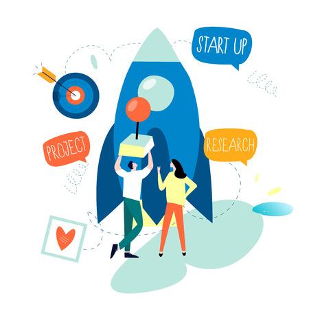 Processus de démarrage de projet d'entreprise, lancement d'idée de démarrage, gestion de projet, démarrage de lancement de travail d'équipe entreprise plate conception d'illustration vectorielle