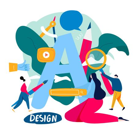 Design studio, designing, drawing, graphic design, art, creative ideas, typography, education flat vector illustration. Online courses and tutorials concept for mobile and web graphics Ilustração