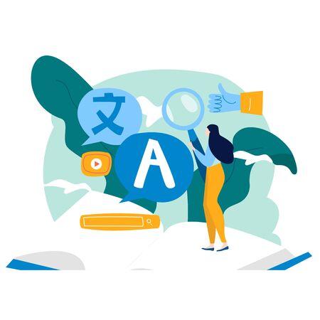 Traductor en línea, traducción de idiomas extranjeros, diseño de ilustración de vector plano de comunicación en línea para gráficos móviles y web