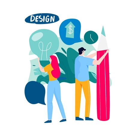 Design studio, designing, graphic design, drawing, art, creative ideas, education flat vector illustration. Online courses and tutorials concept for mobile and web graphics