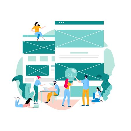Landing page building process, web page construction, website development, website layout and interface development flat vector illustration design for mobile and web graphics. Web design concept