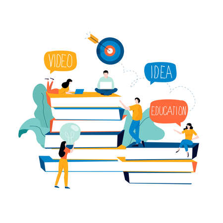 Education, distance education, internet studying, e-learning flat vector illustration. Online classes, training courses, tutorials, online education design for mobile and web graphics